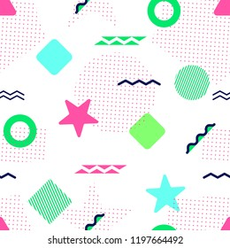 Colorful seamless pattern. Memphis geometric shapes. Abstract background in trendy style. Modern repeated texture. Pink, green, blue. Template backdrop in bright colors. illustration