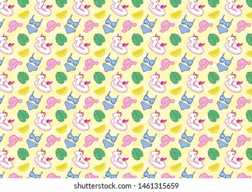 Colorful seamless pattern of summer icons in bright colors. Unicorn, tropical leaf,, lemon and sunhat.