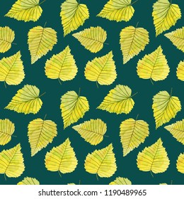Colorful seamless pattern with watercolor autumn  birch leaves on green background.