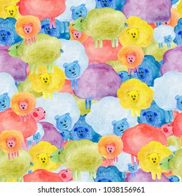 Colorful seamless pattern with watercolor cute sheeps illustrations. Hand drawn background about motley sheeps for use card, cotton, fabric, banner, panel, banner, invitation, decoration kids rooms