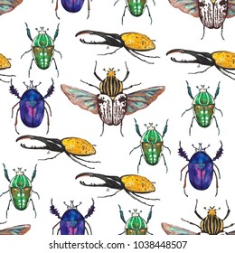 Colorful seamless pattern wit tropical bugs. Watercolor hand drawn illustration