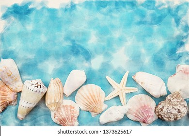 colorful seashells on blue background in watercolors