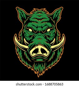 Colorful serious boar head concept in vintage style isolated illustration