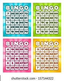 Colorful set of bingo cards