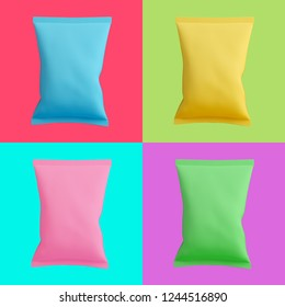 Colorful set of chips bags isolated on different bright backgrounds. Trendy fashion style. Minimal design art. 3d illustration.