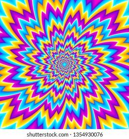 Colorful shining flowe. Optical illusion of movement.