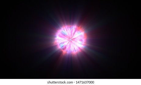 Colorful shock wave consisting particles. VFX elements, Graphic Elements. Light beam, shine through the clouds, dust, nebulae of outer space. 3D Rendering