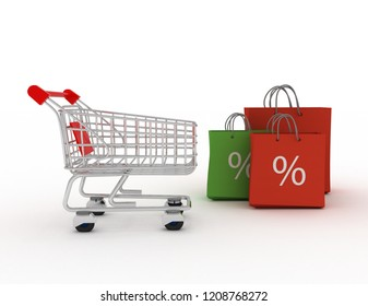 colorful shopping bags and shopping cart. Discount concept. 3c rendered illustration