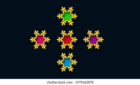 Colorful show buttons design on a black background—suitable for ladies garments such as Kurtis, skirts, tops, shirts, blouse, blazers, coats, frocks, evening gowns.