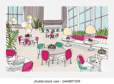 Colorful sketch of modern restaurant or cafe interior furnished with elegant tables, chairs, pendant lights. Freehand drawing of bistro full of stylish furniture. Colored illustration.