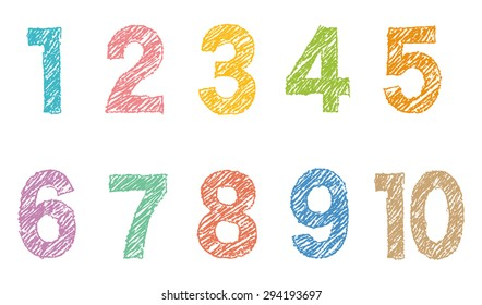 """The colorful sketchy numbers """"1 to 10"""""""
