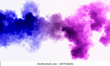 Colorful smoke background texture. Close up of a colorful acrylic ink in water isolated on white. Abstract background.