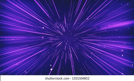 Colorful Space Travel Through Stars Trails. Beautiful Abstract Hyperspace Jump. Digital Design Concept.3d illustration