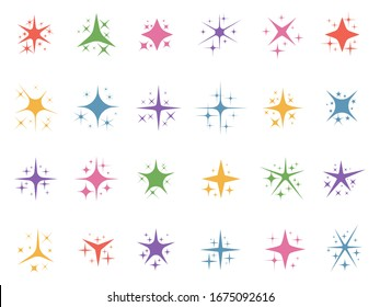 Colorful sparkle stars. Glitter lights, color sparks and shiny star light elements  set. Collection of shimmering or twinkling flashes. Magic outburst decorative design elements in flat style.