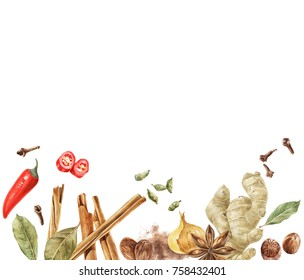 Colorful spices border for cooking designs isolated on white background