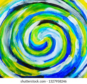 Colorful spiral abstract acrylic painting