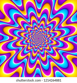Colorful spirals. Optical expansion illusion.