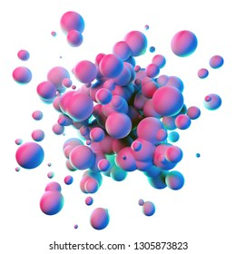 Colorful splash shapes isolated on white background. Blue, pink, green and purple gradient color floating liquid metaball blobs. 3D illustration