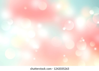 Colorful spring summer bokeh background,abstract blurred backdrop.Easter pink yellow green texture.