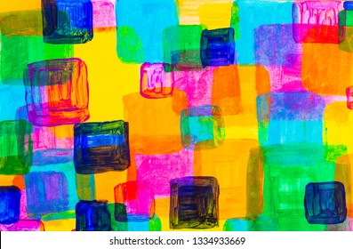 Colorful square abstract acrylic painting