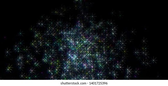 Colorful stars glittering  on space background - illustration