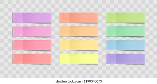 colorful sticky notes, post stickers with shadows isolated on a transparent background. Multicolor paper adhesive tape, rectangle empty office blanks, reminder lists. Great for banner