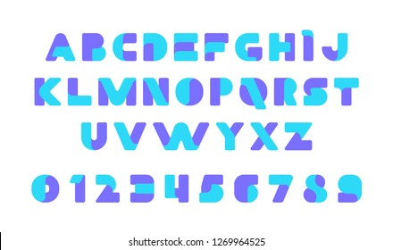 Colorful of stylized modern font and alphabet