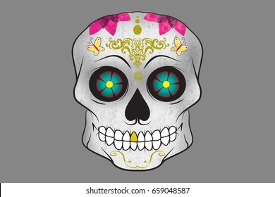 Colorful sugar skull decorated with flowers and pattern/Sugar skull
