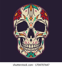 Colorful sugar skull template with floral pattern in vintage style isolated illustration