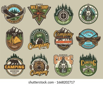 Colorful summer adventure labels set with eagle ferocious bear head bonfire compass lantern tent kettle canoe paddles flashlights in vintage style isolated illustration