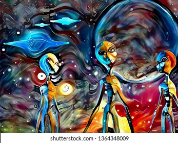 Colorful surreal painting. Three aliens. Flying saucers in the sky. 3D rendering