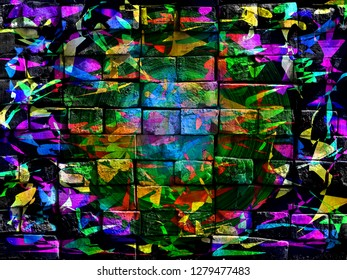 Colorful surreal world. Virtual graffiti. Abstract image, drawn on a photo of a brick wall. Digital graphics by Igor Mishenev (artist-abstractionist).