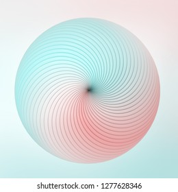 Colorful swirling radial lines formed an abstrct candy. Soft and mild abstract background. 3D rendering - Illustration