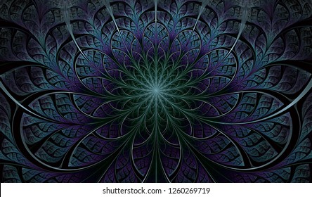 Colorful Symmetrical fractal flower. Elegant and delicate Digitally generated Fractal pattern for art projects.