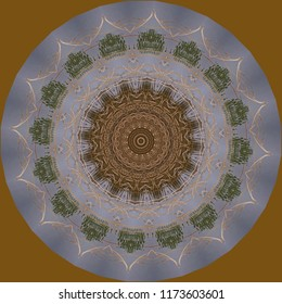 Colorful, teal, brown, tan, green, gold, blue mandala with geometric pattern on brown background. Decorative element, ethnic design, web design, anti-stress therapy, meditation.