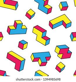 Colorful tetris blocks seamless pattern on white background. Vintage 80s style design.