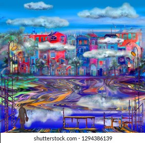 Colorful town near the lake with low clouds. Oil painting cityscape.