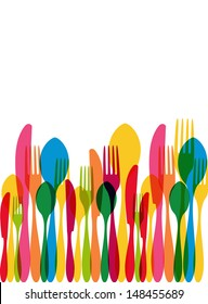 Colorful transparency cutlery seamless pattern.