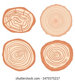 Colorful tree rings on isolated white. Set of objects on isolation background. Line art. Print for your design
