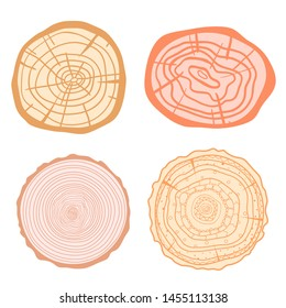 Colorful tree rings on white. Set of objects on isolation background. Line art. Print for polygraphy, posters, t-shirts and textiles
