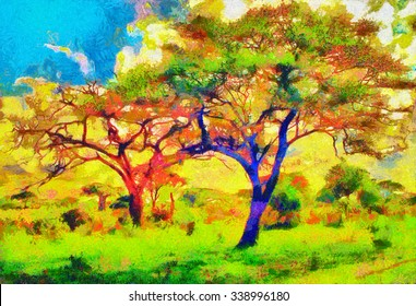 Colorful trees impressionist african landscape oil painting