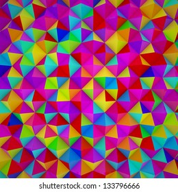 Colorful triangles pattern. Rainbow colors. 3D render.