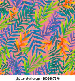 Colorful tropic leaves and flowers raster seamless pattern tile on vintage pink background