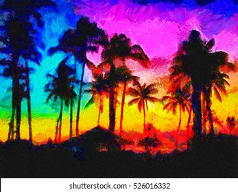 Colorful tropic sunset oil painting