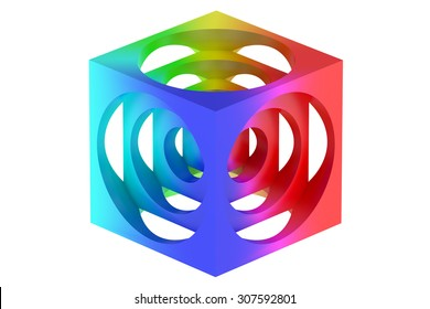 colorful turner's cube isolated on white background