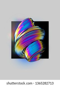 Colorful twisted abstract element on black background. Layout design template 3D rendering