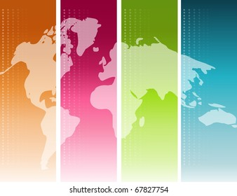 Colorful unfolded map of the world background