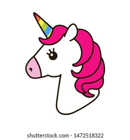 Colorful unicorn rainbow icon flat
