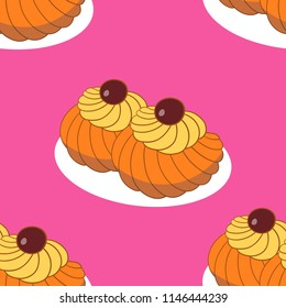 Colorful vector hand drawn  illustration of delicious home made Zeppole pastries. Endless pattern.