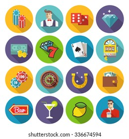 Colorful vector icons set. Quality design illustrations, elements and concept. Gambling icons, casino icons, money icons, poker icons.Set #2.